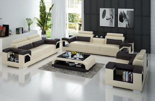 TREASURE LEATHERETTE  3 SEATER + 2  SEATER + 1 SEATER  LOUNGE SUITE (MODEL- G8010D) EXCLUDING COFFEE TABLE  - CHOICE OF LEATHER & ASSORTED COLOURS AVAILABLE