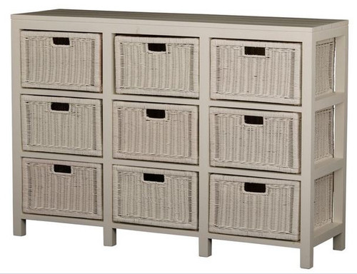 FERNARY 9 DRAWER RATTAN STORAGE CHEST (SB 009 RT) - WHITE