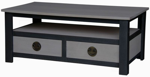 IRVINE 2 DRAWER COFFEE  TABLE (CT 002 IR) -  1100(W) X 600(D) - IRON ANTIQUE WASHED