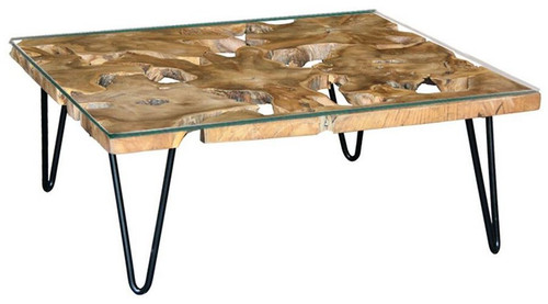 CONSARON   RECYCLED TIMBER COFFEE TABLE WITH GLASS TOP - 900(W) X 900(D) -NATURAL TEAK