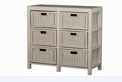 FERNARY  6  DRAWER STORAGE CHEST  (CB-006-RT) - WHITE
