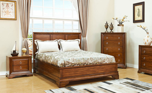 KARRIE QUEEN (603) 4  PIECE TALLBOY BEDROOM SUITE (MODEL 11-1-18-5-14) - CHERRY