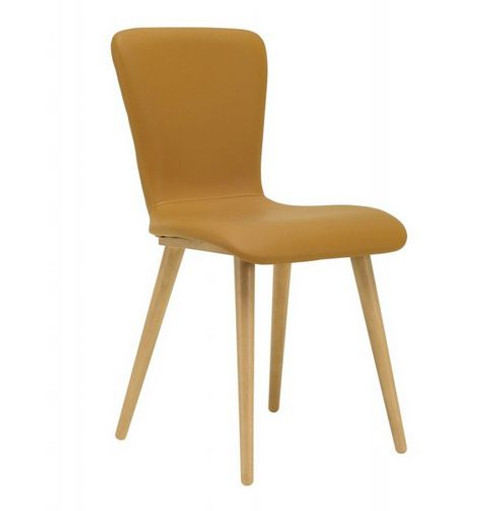 VALLEY SCANDINAVIAN LEATHERETTE DINING CHAIR (SET OF 2) - CARAMEL