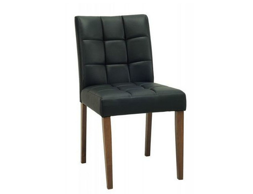 DAVIN MODERN LEATHERETTE DINING CHAIR (SET OF 2) - BLACK LEATHERETTE / ESPRESSO LEGS