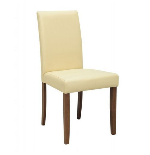 LENORE  MODERN LEATHERETTE DINING CHAIR (SET OF 2)  - CREAM