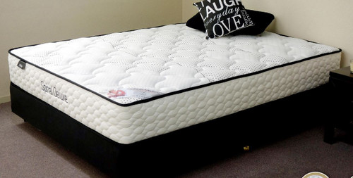 QUEEN SPINAL DELUXE POCKET SPRING ENSEMBLE WITH BLACK SUEDE BASE (MATTRESS + BASE) - FIRM