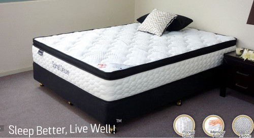 KING  SPINAL DELUXE  POCKET SPRING ENSEMBLE WITH BLACK SUEDE BASE (MATTRESS & BASE)  - PLUSH