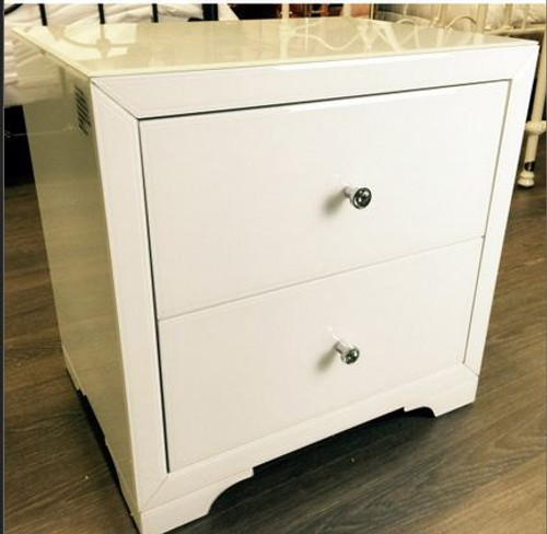 BOULEVARDE WHITE GLASS 2 DRAWER BEDSIDE TABLE - WHITE