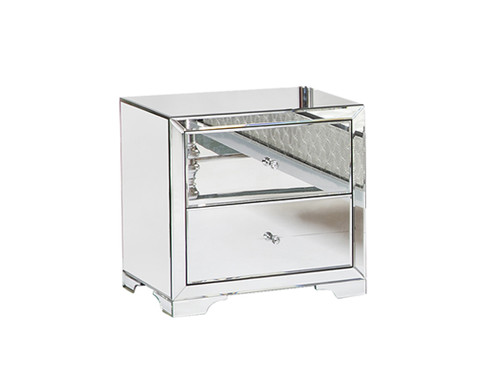BOULEVARDE 2 DRAWER MIRRORED BEDSIDE TABLE - SILVER / CLEAR