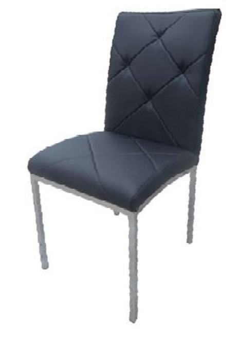 BARI LEATHERETTE DINING CHAIR  - BLACK