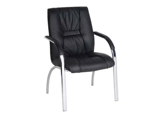 HELLAS 4 LEG BOADROOM  LEATHER ARM CHAIR - BLACK