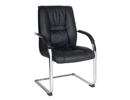 HELLAS  BOADROOM CANTILEVER LEATHER ARM CHAIR - BLACK