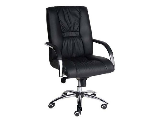 HELLAS  EXECUTIVE LEATHER OFFICE CHAIR WITH CHROME FRAME - BLACK