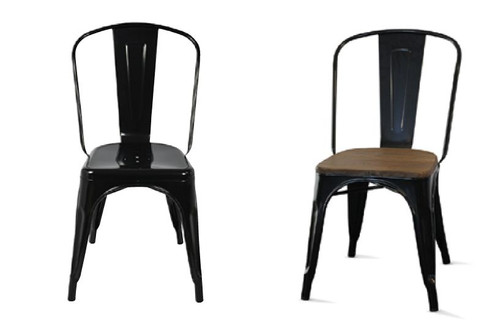 TOLEDO CHAIR WITH ADDITIONAL TIMBER SEAT - BLACK