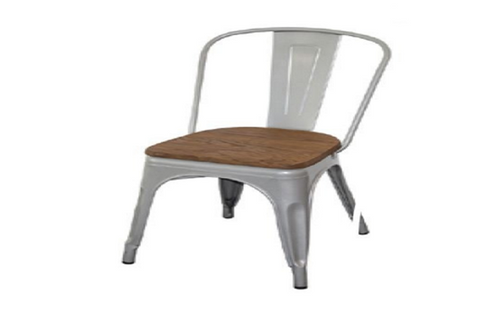 TOLEDO CHAIR WITH ADDITIONAL TIMBER SEAT - SILVER