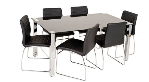 COOGEE 7  PIECE DINING SET WITH GLASS TABLE AND UPHOLSTERED CHAIRS - 1600(L) X 900(W)