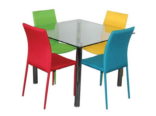 SVEN  5  PIECE DINING SETTING TABLE WITH  ROUND TUBE LEG - 1000(L) X 1000(W) - CHAIRS AVAILABLE IN ASSORTED COLORS