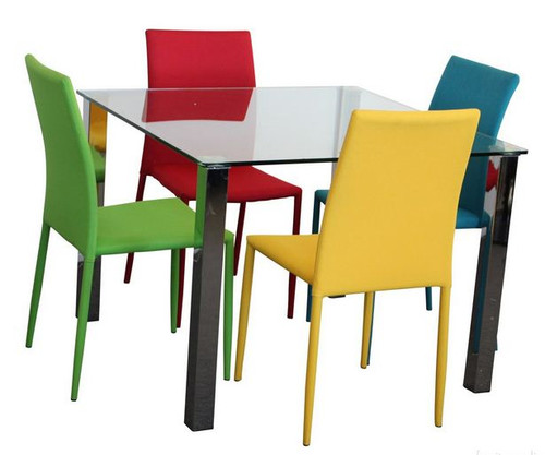 SVEN  5  PIECE DINING SETTING WITH SQUARE TABLE - 1000(L) X 1000(W) - CHAIRS AVAILABLE IN ASSORTED COLORS