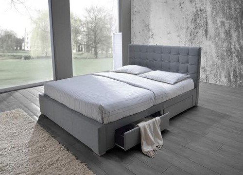 DOUBLE SARAH FABRIC BED WITH 4 UNDER BED STORAGE DRAWERS (MODEL-8497) - LIGHT GREY
