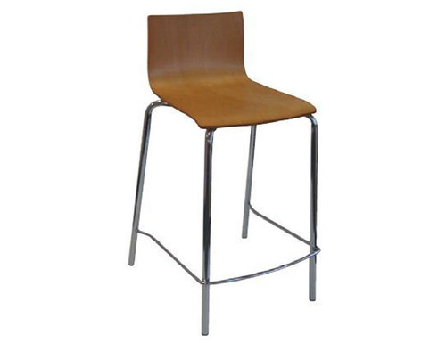 CONTOUR STOOL - SEAT: 690 - CHROME / BEECH