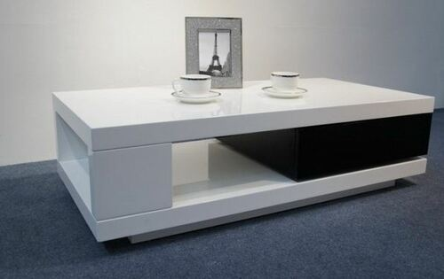 BOURKE COFFEE TABLE  WITH DRAWER (WD-123) - 1200(W) X 600(D) - HIGH GLOSS  WHITE