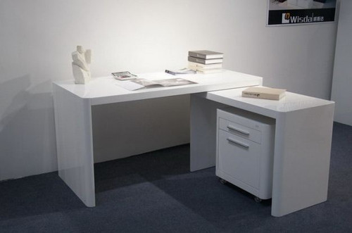BOURKE  DESK  WITH RETURN AND FILING  (WD-302)  -  1500(W) X 700(D) -  HIGH GLOSS  WHITE