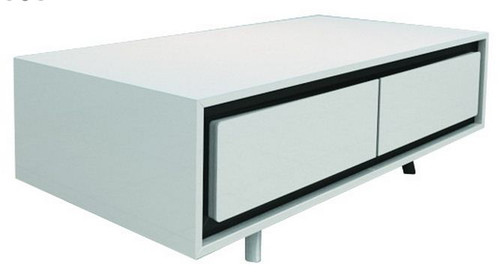 CALI 2 DRAWERS COFFEE TABLE (WD-168)  - 1200(W) X 600(D)-  HIGH GLOSSY  WHITE