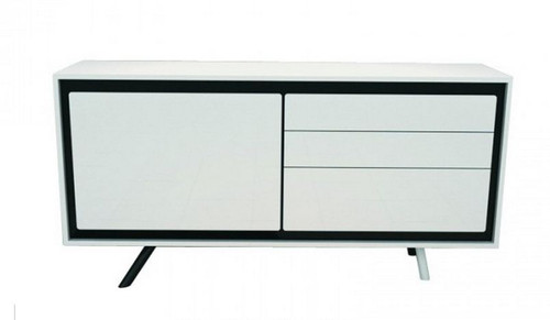 CALI 1600(W) BUFFET WITH 1 DOOR / 3 DRAWERS (WD-168) - 780(H) X 1600(W) - HIGH GLOSSY  WHITE