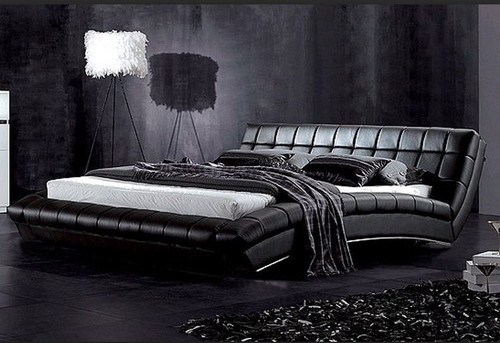 QUEEN NORWISH LEATHERETTE  BED (B035) - ASSORTED COLORS AVAILABLE (SEE COLOR BOARD)