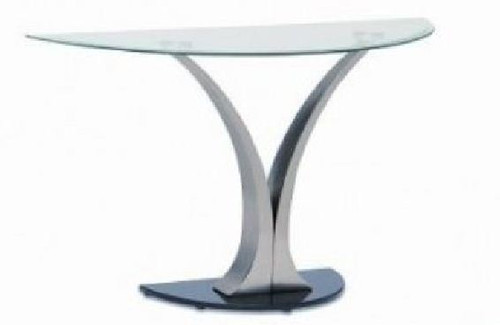BEKKI HALL TABLE (WD-530)  -750(H) X 1170(W) X 405(D)- CLEAR / GLOSSY BLACK