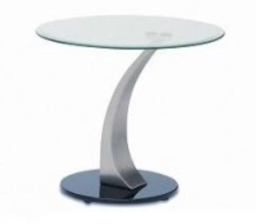 BEKKI   LAMP TABLE (WD-530)  -  560 (DIAM) - CLEAR / GLOSSY BLACK