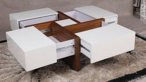 COLLINS 900(W)  X 900(D)  SQUARE COFFEE TABLE  - ( WD-209) - GLOSS WHITE / WALNUT