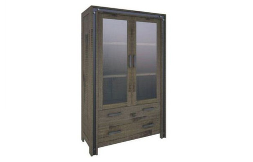 WAREHOUSE  1950(H) x 1100(W) 2 DOORS 3 DRAWERS DISPLAY CABINET (23-1-18-5-8-15-21--20-5)  - KHAKI