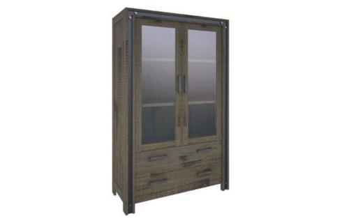 WAREHOUSE  1950(H) x 1100(W) 2 DOORS 3 DRAWERS DISPLAY CABINET (23-1-18-5-8-15-21--20-5)  - KHAKI
