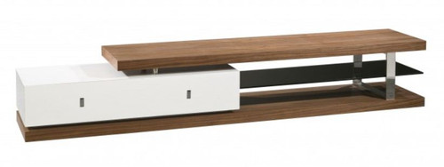 COLLINS  TV UNIT (WD-209)  -  430(H) x 2400(W) - HIGH GLOSS WHITE / WALNUT