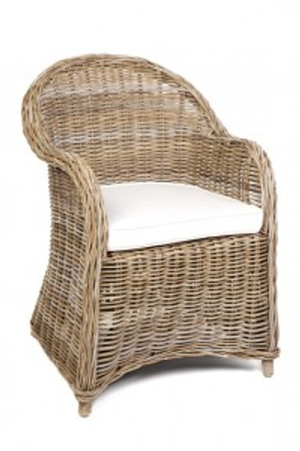 ROMA (DET771) RATTAN ARM CHAIR - KUBU GREY OR  GREY WASH
