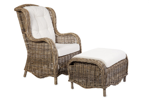 PRINCE (DET793) RATTAN CHAIR INCLUDING CUSHIONS WITH FOOT STOOL - KUBU GREY