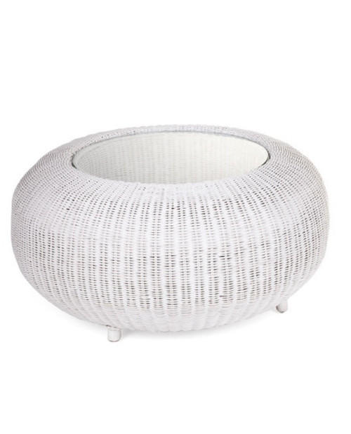 ROUND RATTAN POLE COFFEE TABLE - WITH GLASS TOP 800( DIAM) - SOLID WHITE - Australia's Best ...
