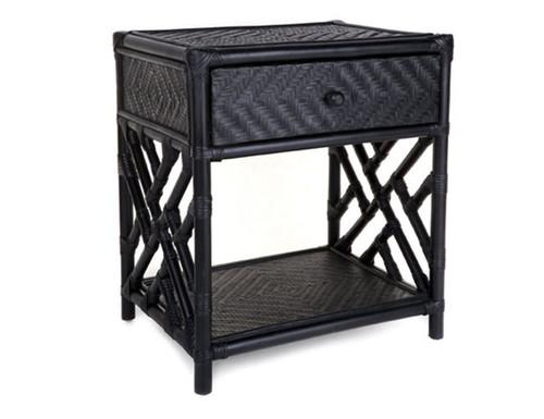 RATTAN (DET271) SINGLE DRAWER BEDSIDE TABLE - BLACK