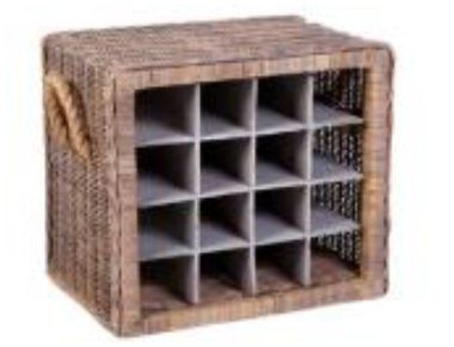 RATTAN 16 BOTTLES  WINE RACK (DEH606)  -500(W) X 360(D) - KUBU GREY