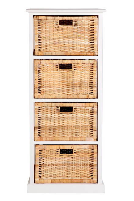 BALINESE 4  DRAWER  CABINET  WITH  HONEY BASKET 1250(H)   x  490(W)   -  NATURAL /WHITE