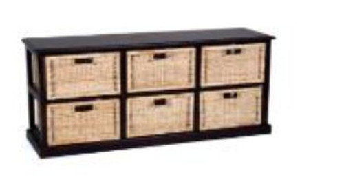 BALINESE RATTAN (DET706/H)    6  DRAWER  HORIZONTAL CABINET   WITH  HONEY BASKET 920(H)   x  1360(W)   -  NATURAL  /  BROWN