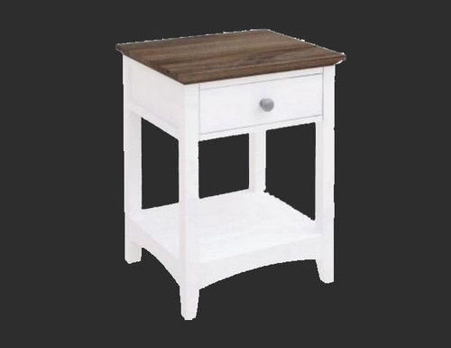 HABIBA 1 DRAWER BEDSIDE TABLE  (2-18-9-20-20-1-14-25)  - WHITE / DARK WENGE