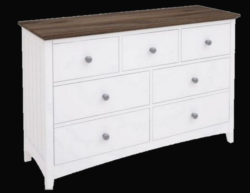 HABIBA 7 DRAWERS DRESSING TABLE  (2-18-9-20-20-1-14-25)  -830(H) X 1300(W) -  WHITE / DARK WENGE