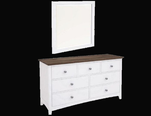 HABIBA 7 DRAWERS DRESSING TABLE WITH MIRROR  (2-18-9-20-20-1-14-25)  - 830(H) X 1300(W)-  WHITE / DARK WENGE