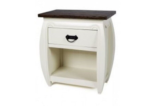 AMISA (DET292) CURVED BEDSIDE  TABLE - 2 TONE