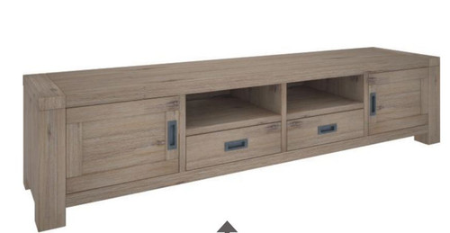 OYSTER BAY 2 DOOR & 2 DRAWERS ENTERTAINMENT UNIT WITH 2 SHELVES  (VOB-011)  - 550(H) x 2250(H) - ASH