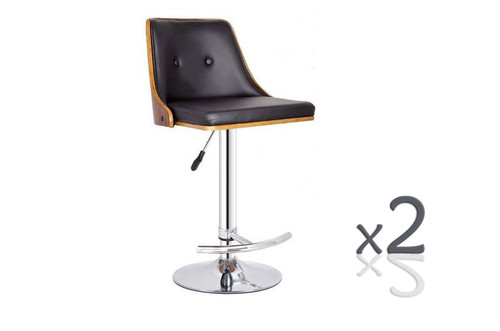 FLORENCE GAS LIFT (SET OF 2) BAR STOOL -SEAT: 670-895(H) - BLACK + WALNUT