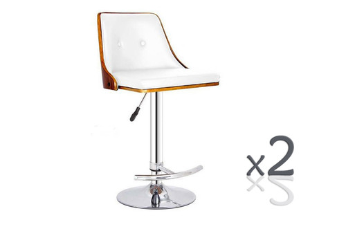 FLORENCE GAS LIFT (SET OF 2)  BAR STOOLS -   WHITE + WALNUT