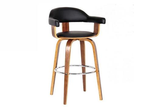 MILAN BENTWOOD BAR STOOL - SEAT 680(H) - BLACK + WALNUT